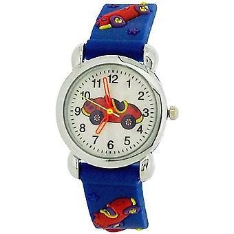 Relda Childrens Boy's 3D Motor Racing Car Blue Silicone Strap Watch REL47
