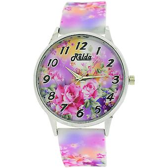 Relda Ladies Analogue Roses Are Pink Silicone Colourful Strap Watch REL102