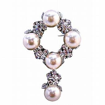 Brooch for Wedding Cake Pearls Simulated Diamond Dangling 2 Inches