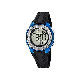 Calypso, unisex digital watch with LCD display and black plastic strap