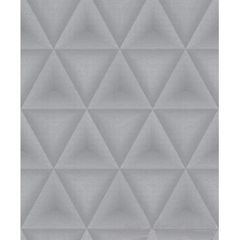 Geometric Wallpaper Triangles Diamond Grey Silver Paste Wall Vinyl Grandeco