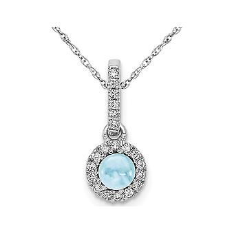 1/2 Carat (ctw) Natural Cabochon Aquamarine Pendant Necklace in 14K White Gold with Chain and Accent Diamonds