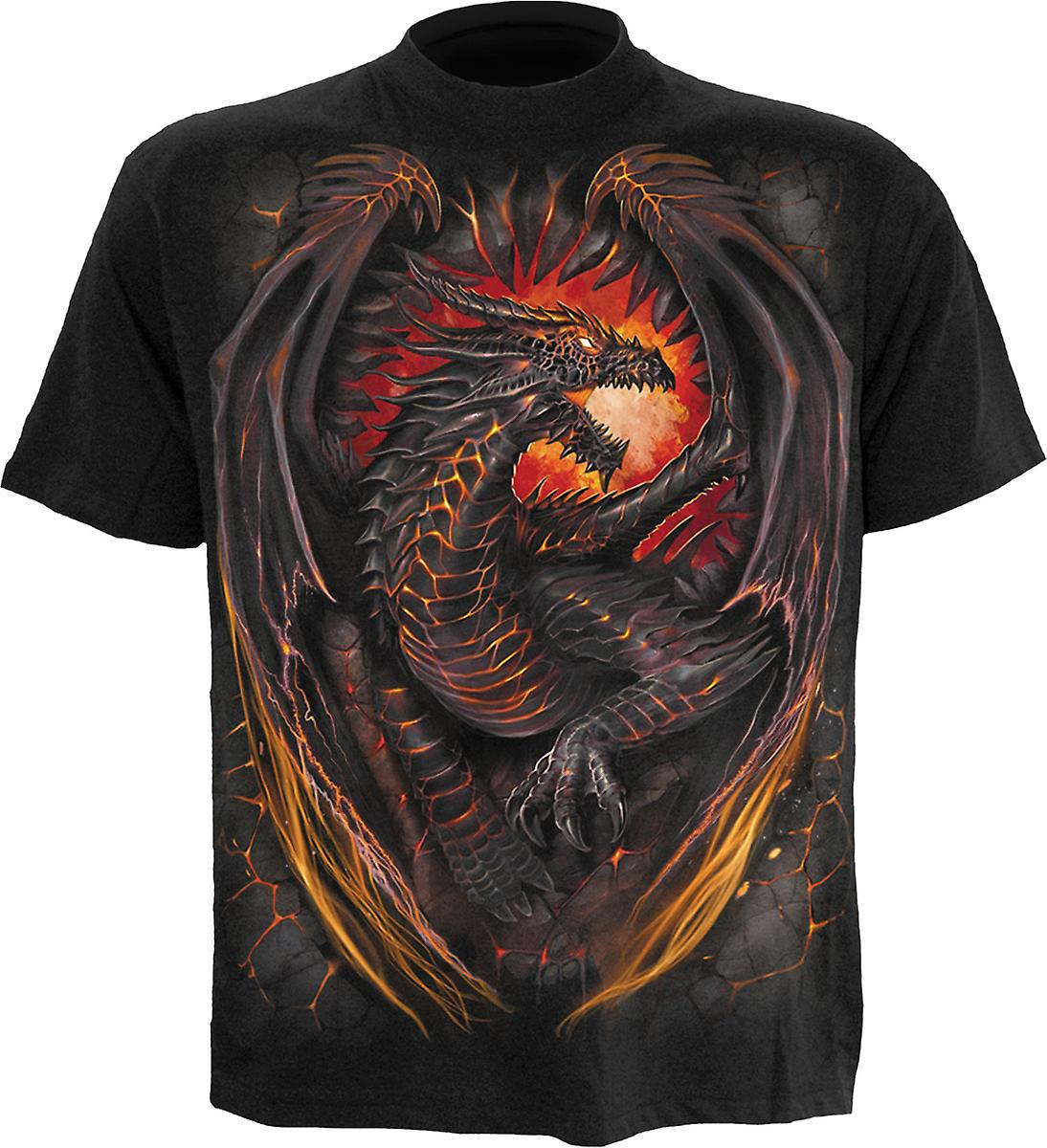 Spiral Direct Gothic DRAGON FURNACE - T-Shirt Black|Dragon|Wings|Flames