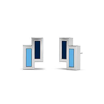Tampa Bay Rays Sterling Silver Silver Assimmetric Esmalte Brincos em Azul e Azul Céu