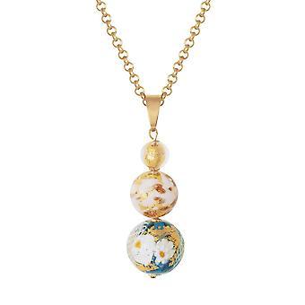 Eternal Collection Tuscany Aqua And Gold Venetian Murano Glass Pendant