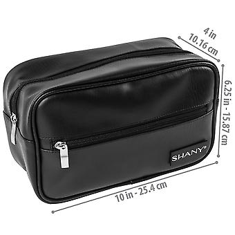 SHANY Dopp Kit and Travel Toiletry Bag – Zippered Faux Leather Grooming Organizer with 2 Internal and 1 External Pockets – BLACK
