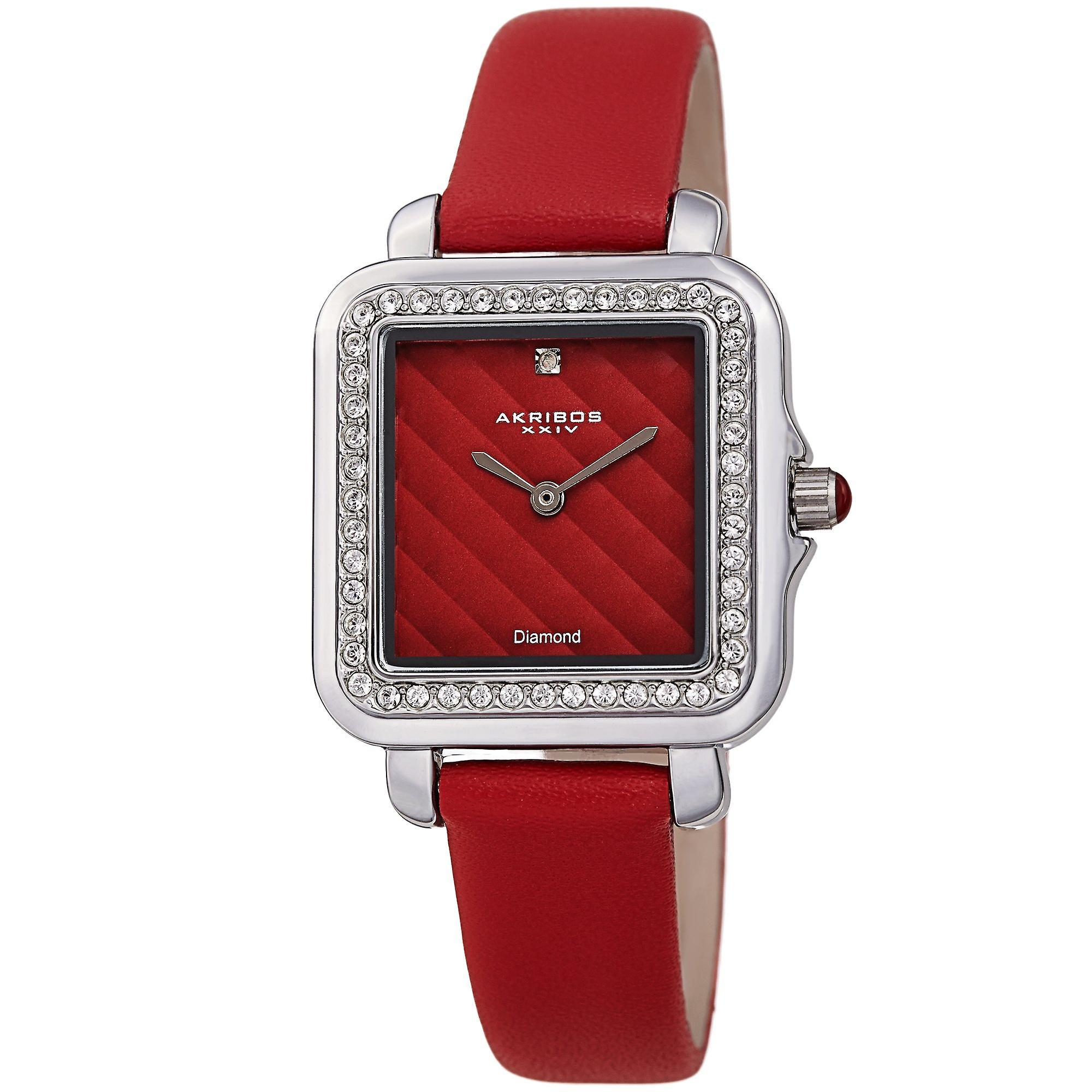 Akribos XXIV AKS191106RD Women's Quartz Square Diamond and Crystals Argyle Leather Strap Watch
