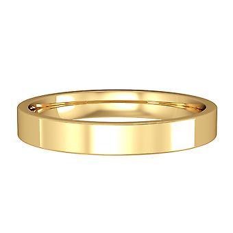 Κοσμήματα του Λονδίνου 18ct κίτρινο χρυσό-3mm βασική επίπεδη-δικαστήριο μπάντα δέσμευση/δαχτυλίδι δέσμευσης γάμου