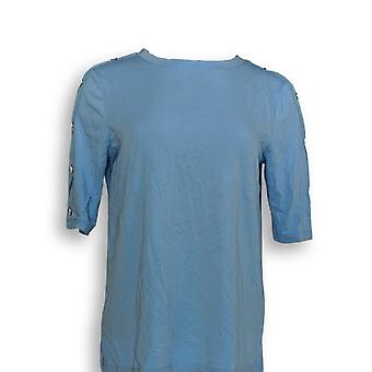 Martha Stewart Mujeres's Top (XXS) Cuello barco-manga azul A309311