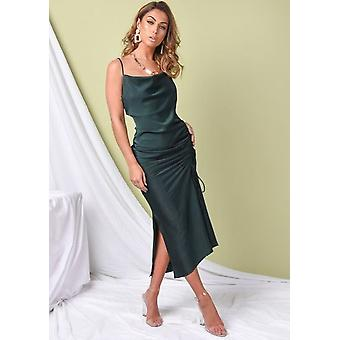 Ruched Side SplitS Cowl Collo Maxi Abito Verde Smeraldo Verde