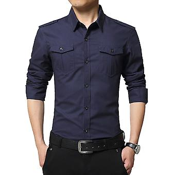 Allthemen Men's Shirt Military Style Cotton Slim Fit Jesienna koszula z długim rękawem