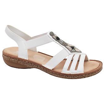 Rieker Elasticated Strap Open Toe T-bar White Sandal