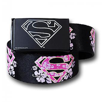Super Girl bloem symbolen zwarte volwassen web belt