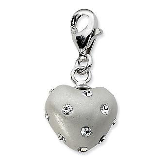 925 Sterling Silver Rhodium plated Fancy Lobster Closure Click on White Ferido and Crystal Love Heart Charm Pendant Neck