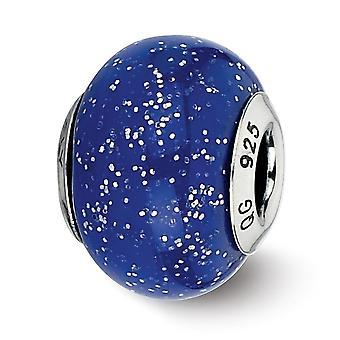 925 prata esterlina polido Antique Finish italiano vidro de Murano reflexões azul escuro com glitter prata Muran italiano