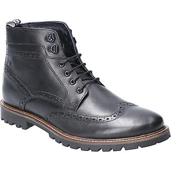 Base Londres Mens Bower Waxy Laced Leather Brogue Ankle Boots