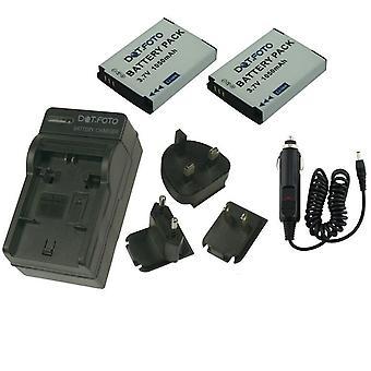 Dot.Foto Toshiba PX1733-1BRS - 3.7V / 1050mAh batterie (2-Pack) et chargeur de voyage