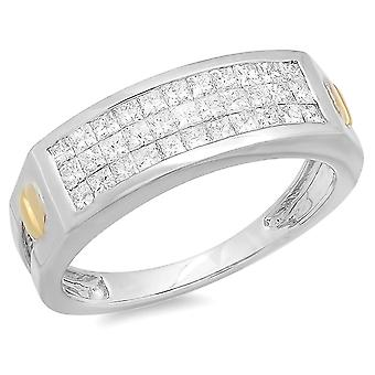 Dazzlingrock Collection 1,15 Carat (CTW) 14k prinsesse diamant usynlig Herre ring, hvid guld