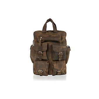 "Brown 18.0"" Backpack Top Carry Handle 4 Front Multi Pocket Side Pockets Adjustable Shoulder Straps"