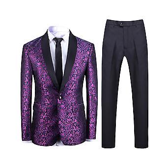 Allthemen Men-apos;s 2-Piece Suits Purple Jacquard Slim Fit Wedding Blazer et Pantalons