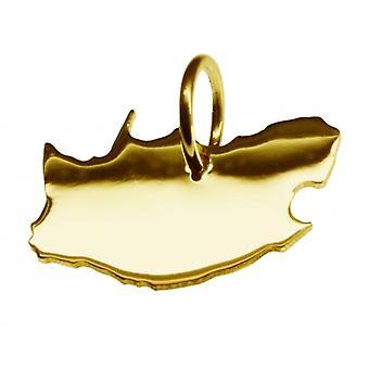Pendentif de chaîne de carte en or jaune-or sous la forme de SUD AFRIQUE