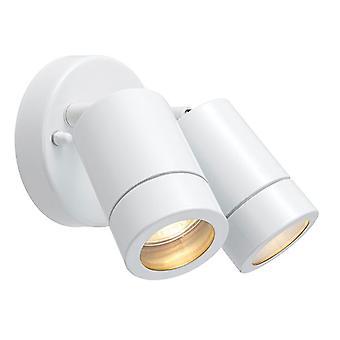 Saxby Lighting Palin 2 Light Outdoor Spotlight Gloss White, Glass IP44 75444