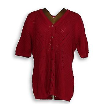Isaac Mizrahi Live! Kvinner ' s genser Pointelle rød A308020