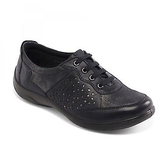 Padders Harp Ladies Leather Extra Wide (2e/3e) Shoes Navy