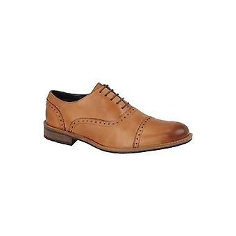 Roamers Thaddeus Mens Leather Capped Brogue Shoes Tan