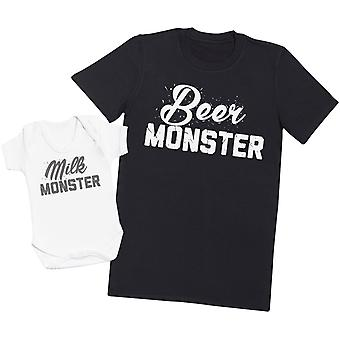 Milk Monster & Beer Monster - Mens T Shirt & Baby Bodysuit