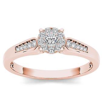 Igi certifierad 10k steg guld 0,25 ct rundskuren diamant kluster förlovningsring
