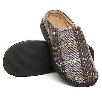 Ajvani Herren flache Winter Pelz gefüttert Slip auf Memory-Schaum Geschenk Maultiere Hausschuhe Schuhe