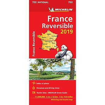 France  reversible 2019  Michelin National Map 722