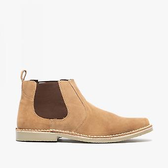 Roamers Jason mens Twin Gusset Suede leer Chelsea Boots taupe
