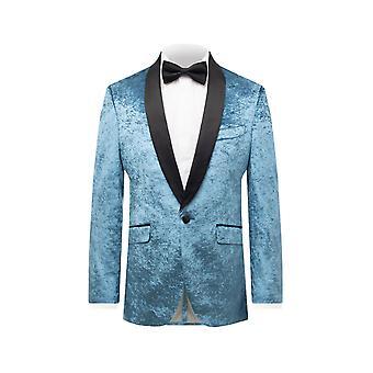 Dobell Mens Marine Blue Crushed Velvet Tuxedo Jacket Regular Fit