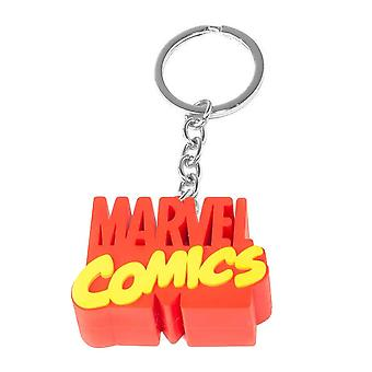 Marvel Schlüsselanhänger Marvel Comics 3D Logo rot-gelb, aus Kunststoff mit Schlüsselring.