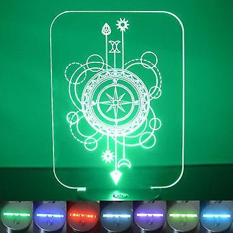 Compass Decorative Rectangle Colour Changing LED Acrylic Light
