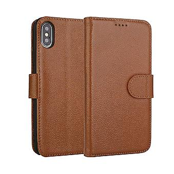 Fashion Brown Cowhide Genuine Leather Wallet For iPhone XS MAX Case