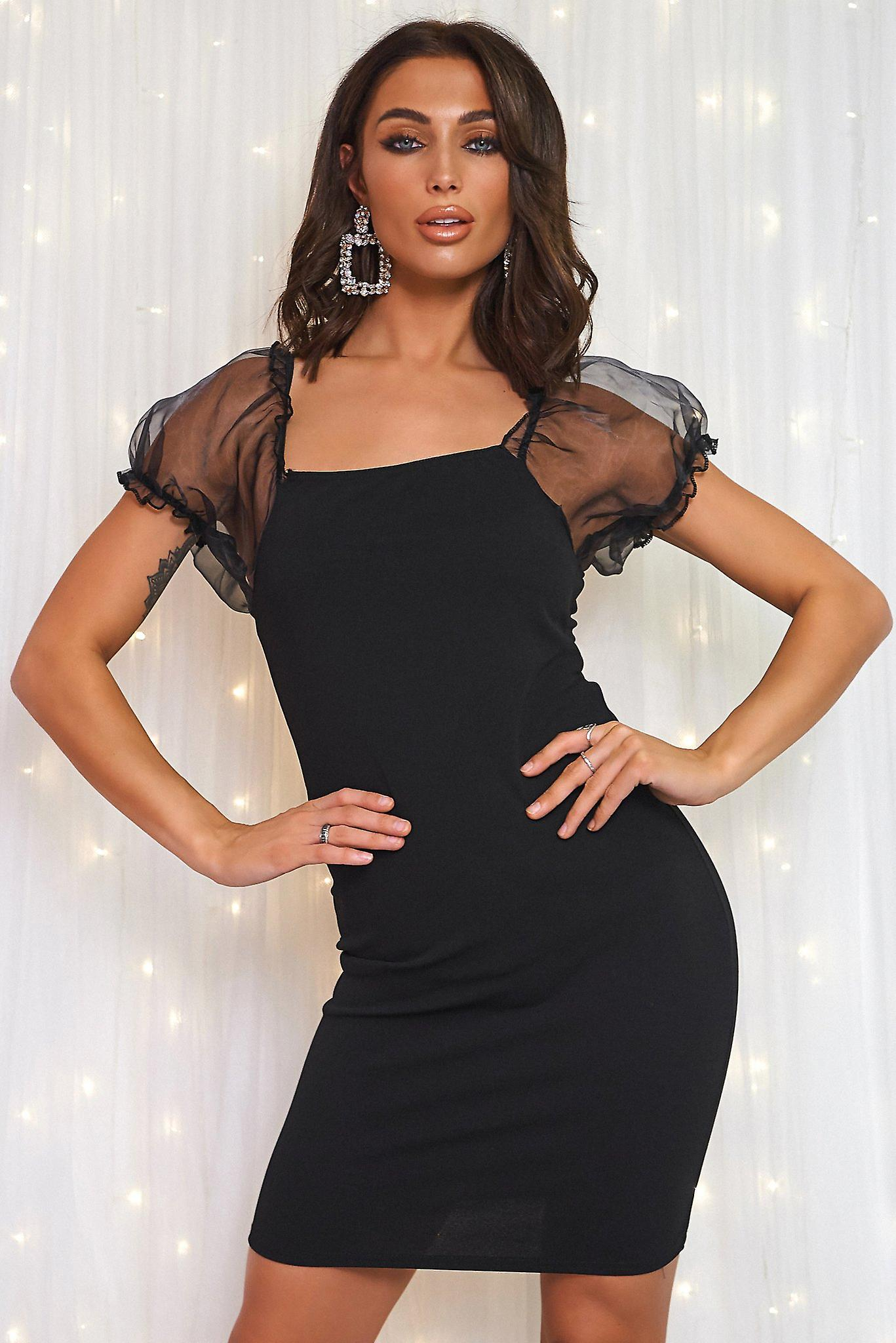 Organza Sheer Puff Sleeve Bodycon Mini Dress