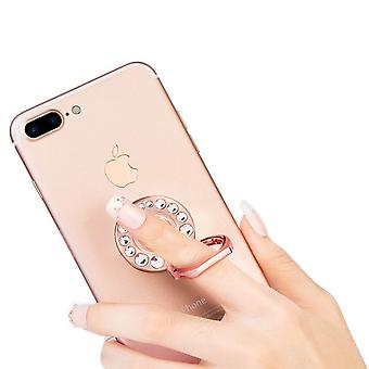 Metal Smartphone Ring Holder Stand- Crystall Strass, Rose Gold