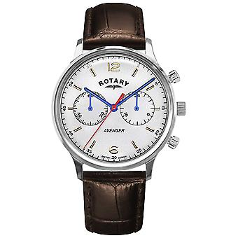 Rotary Men's Avenger | Brown Leather Strap | Silver Dial GS05203/70 Watch