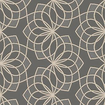 Scala Floral Spiro Fondo Geométrico Gris Oscuro Rasch 304022