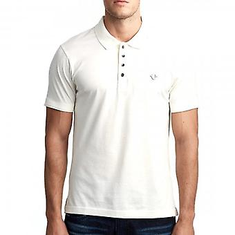 True Religion Metal Logo Polo T-Shirt Cream 101296
