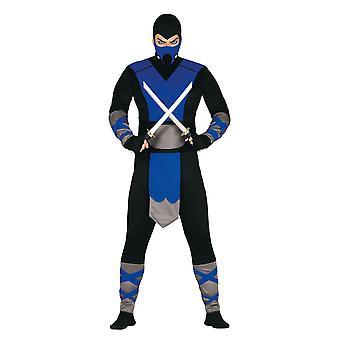 Mens Blue Ninja Fancy Dress Kostuum Samurai Warrior