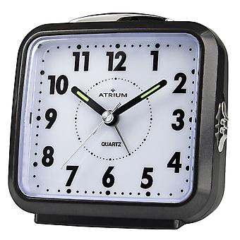 ATRIUM Alarm Clock Analog Quartz Black A250-7 without ticking with light and snooze
