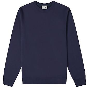 Y-3 Reverse Kontrast Logo Sweatshirt Navy