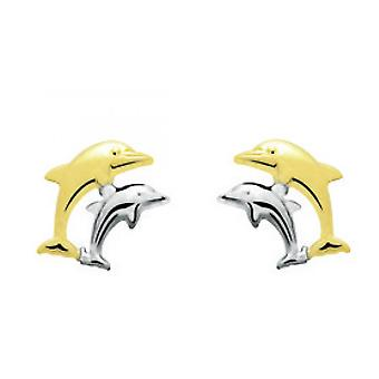 Dolphins Gold 375/1000 two-coloured (9K) earrings