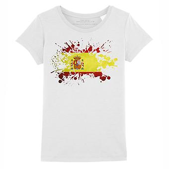 STUFF4 Girl's Round Neck T-Shirt/Spain/Spanish Flag Splat/White