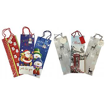 Christmas Shop Long Bottle Gift Bags (3 Pack)