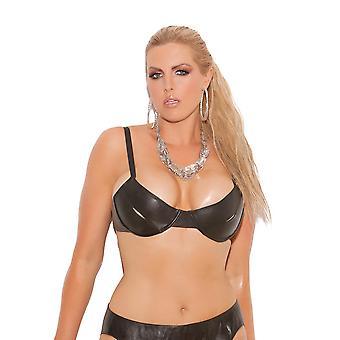 Sexy Plus Size Leather Underwire Peek a Boo Bra Top
